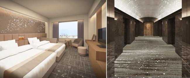 左:タワーフロア客室イメージ/右:タワーフロアロビーイメージ