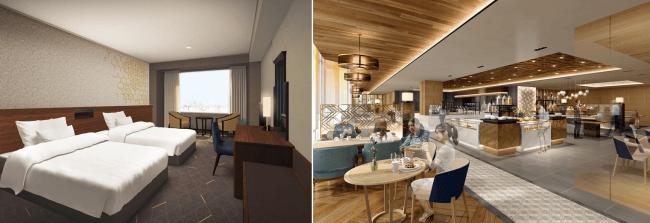左:スーペリアフロア 客室イメージ/右:レストラン店内イメージ