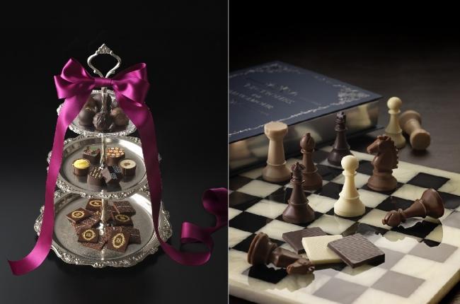 """左:パーティーにもぴったり!新作チョコレート「アフタヌーンティー・ショコラBOX」イメージ 右:""""チェス""""をイメージした「リーブルチェス」イメージ"""