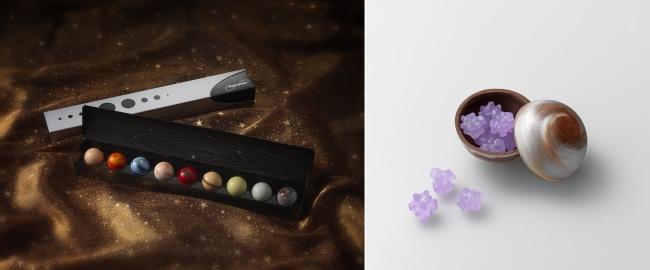 (左)太陽系8惑星に、準惑星の「冥王星」を加えた新商品「メモワール ~memoire~」 (右)新登場の「冥王星」の中には金平糖が隠れています