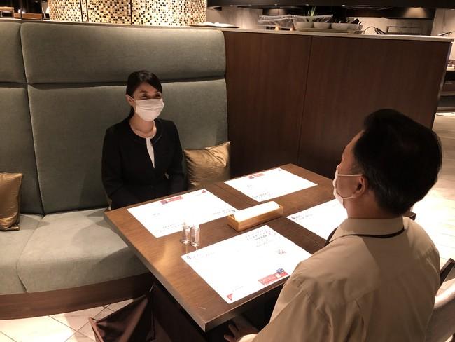 飲食時以外はマスク着用をお願いします。座席はソーシャルディスタンスを保った間隔を確保いたします。