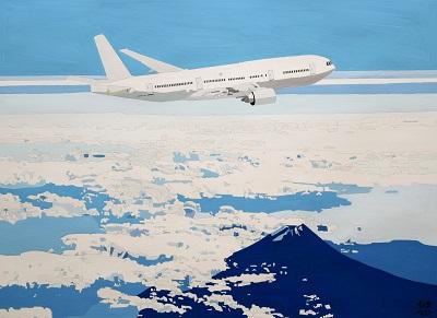 「空を飛んでる飛行機」 岩本 悠介 (45×61、ポスターカラー)