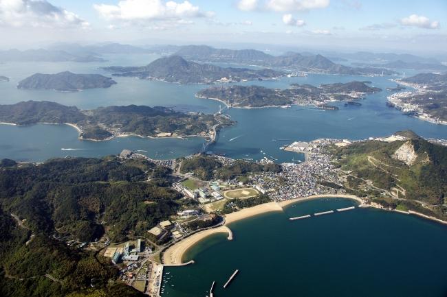 ▲上島町 航空写真(上島町提供)