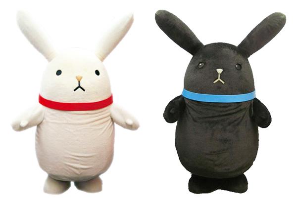 マスコットキャラクター「ツキウサ。くん」(左から、白田、黒田)
