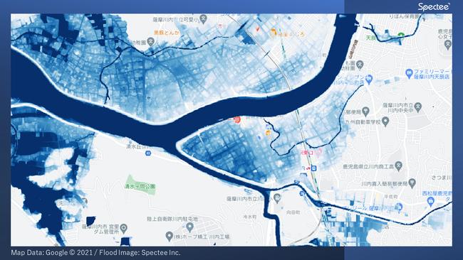鹿児島県薩摩川内市周辺の浸水推定図(2021年7月10日)- SNSの投稿画像をもとにAIで解析し作成