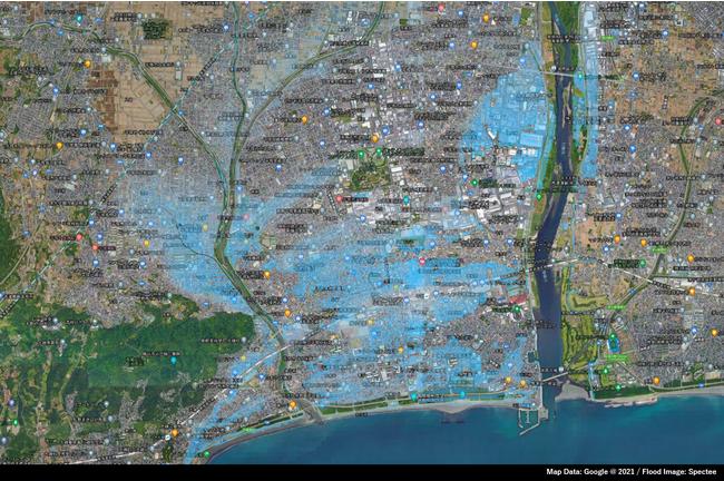 神奈川県平塚市周辺のリアルタイム浸水推定図(2021年7月3日)
