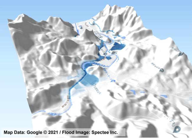 島根県出雲市周辺のリアルタイム浸水推定図(2021年7月12日)