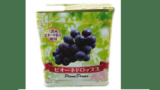 ピオーネドロップス346円(税込)■三次産ピオーネの果汁を使用した缶入りドロップスです。