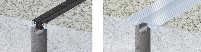比較イメージ(左:「アーキウェイブ Eシリーズ床タイプ」右:金属製Exp.J.C.)