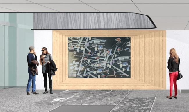 EN LOBBY 金属製の京都市内マップ