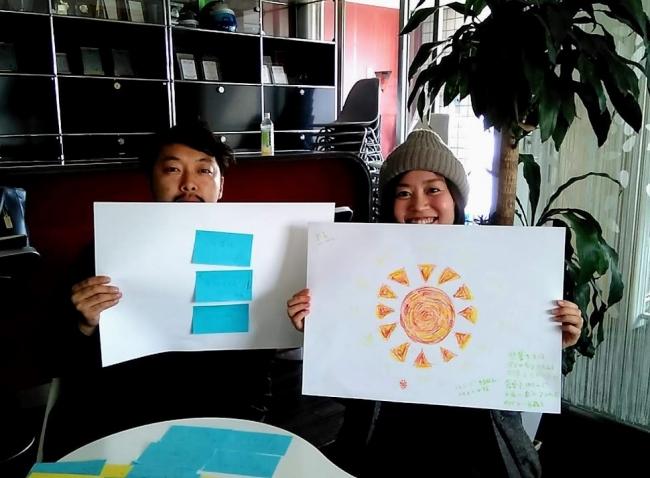 理想の家庭をロゴで描く参加者