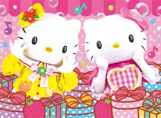 画像左:ハローキティの双子の妹「ミミィ」 画像右:ハローキティ