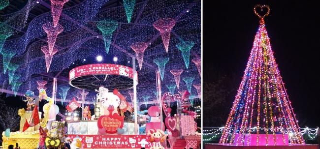 ハーモニービレッジで上演する「パレードパラレル~クリスマススターライトVer.」とイルミネーションクリスマスツリー