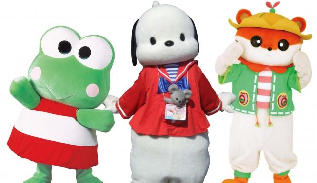 サンクスパーティー最後のグリーティングでは、懐かしいキャラクターも登場(画像左より:けろけろけろっぴ、ポチャッコ、コロコロクリリン)