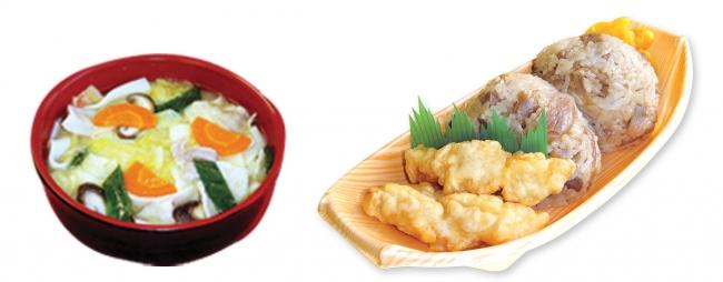 (左)大分名産の椎茸が入った「だんご汁」(右)とり天&鶏飯おにぎり