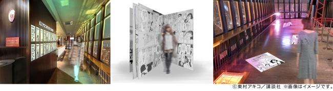 写真左から、「タイトル扉絵コーナー」、「巨大コミックコーナー」、「名シーン・名言」の床面装飾(イメージ)