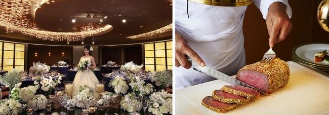 左:ロイヤルパークホテル ウエディングイメージ/右:初代総料理長 嶋村光夫から受け継ぐ「和牛ロースの白胡麻風味」