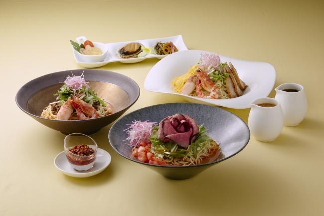 「涼麺」冷やし担々麺(左)、和牛ローストビーフ入り担々麺(中央)、五目冷やし麺(右)