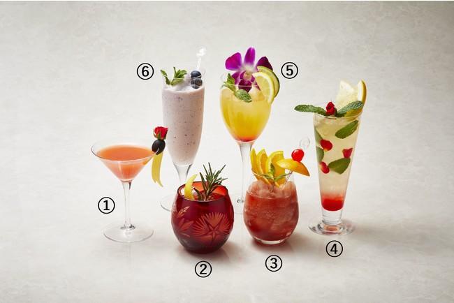 1.ビネガーフルーツヨーグルト、2.ポン酢とトマトのジンジャー、3.Frozen Fruity Su、4.FLORAL BEAUTY 酢カッシュ、5.Tropical Princess、6.ブルーベリー黒酢 豆乳シェイク