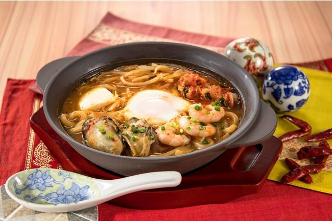 広島産牡蠣と海老の海鮮チゲ(半玉うどん入り)