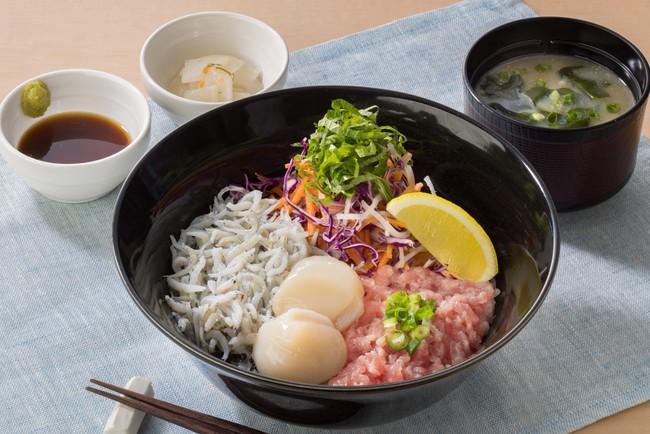 海の幸御飯セット 北海道産ほたて貝柱とねぎとろ・釜あげしらす《味噌汁・漬物付き》