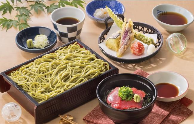 【夢庵】三陸めかぶそば夏野菜天と大間の小本まぐろ丼セット