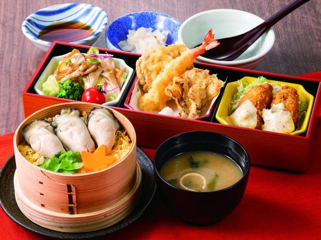 広島産牡蠣せいろ御飯膳