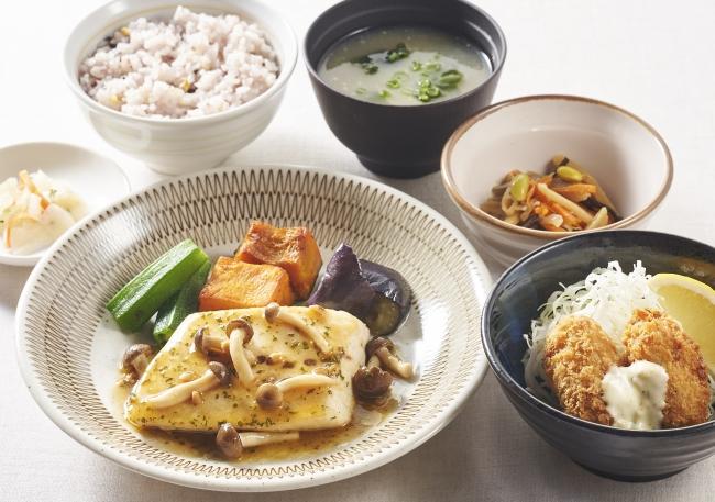 天然トロカジキのグリル&広島産牡蠣フライ膳
