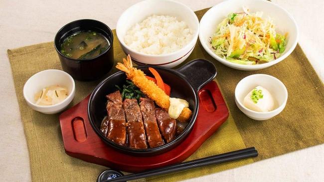 ステーキ&海老フライ 緑黄色野菜グリル添え(ごはん、味噌汁、漬物、ミニサラダ、豆腐小鉢付き)
