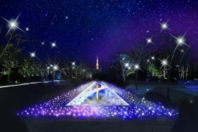 東京タワーをバックにした水景と光の共演は品川シーズンテラスならではの演出。  (写真:イメージ)