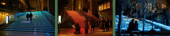大階段や広大な広場に広がるイルミネーションで安らぎの時間を