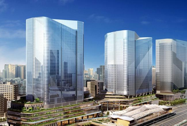 【街イメージパース】 港南側から高輪ゲートウェイ駅・4街区および3街区建物を望む