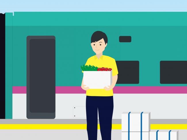 ②新函館北斗駅にて特産品を 新幹線に積み込み