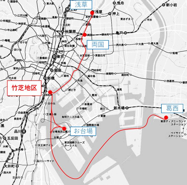 「東京都公園協会 予定運航ルート※2 ※3 ※4」 「(C)Mapbox (C)OpenStreetMap (C)Yahoo Japan」 Z17LE第1040号 Z17LE第1041号