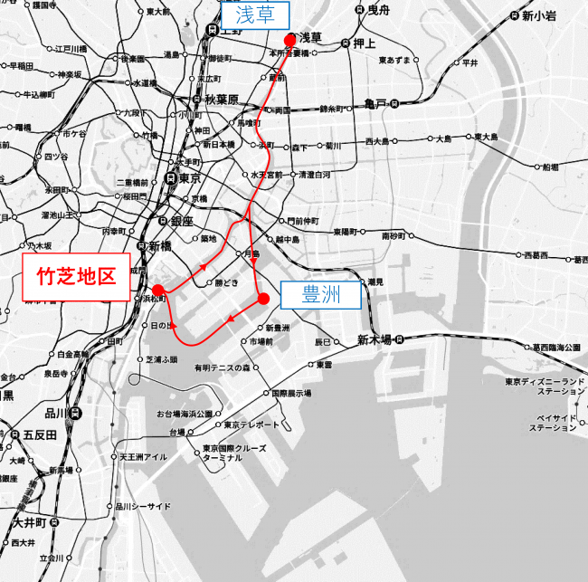 「東京都観光汽船 予定運航ルート※2 ※3 ※4」 「(C)Mapbox (C)OpenStreetMap (C)Yahoo Japan」 Z17LE第1040号 Z17LE第1041号