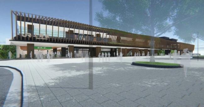 全面開業時新公園口駅舎外観イメージ