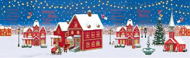 小鳥たちは街に到着。サンタクロースと一緒に、お家にお菓子を届けます。(2016年)