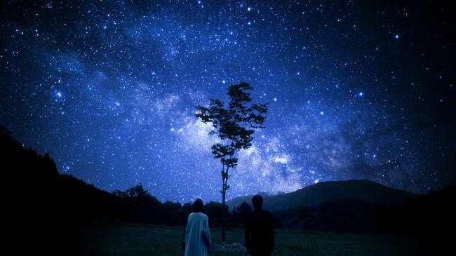 美しい星空が浮かび上がる。