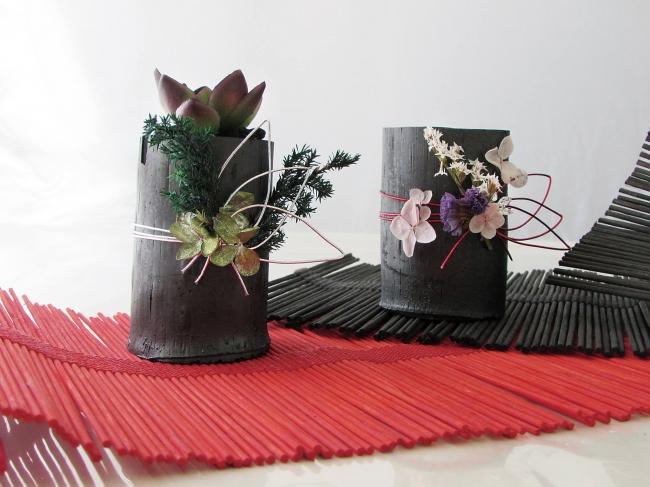 飾り竹炭「緑の響、  桜舞」