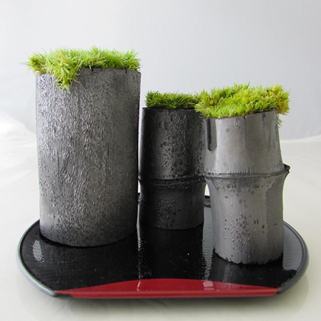 飾り竹炭「苔庭」