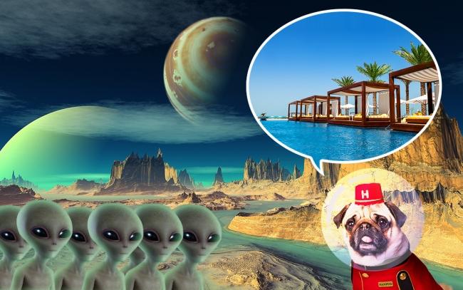 まだ見ぬ地球のリゾートに興味津々の宇宙人