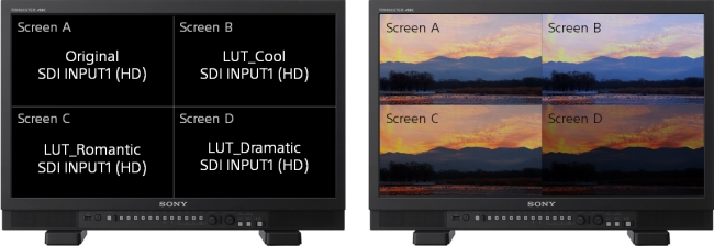 Quad Viewモードでオリジナル映像と3種類のLUT適用比較