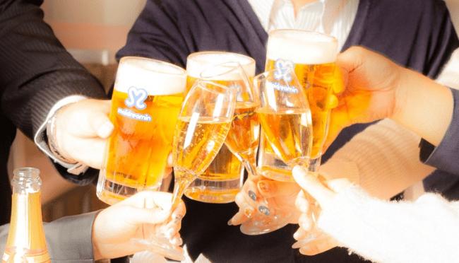 ビール・ハイボール・シャンパン・カクテルなどお酒の種類も豊富。
