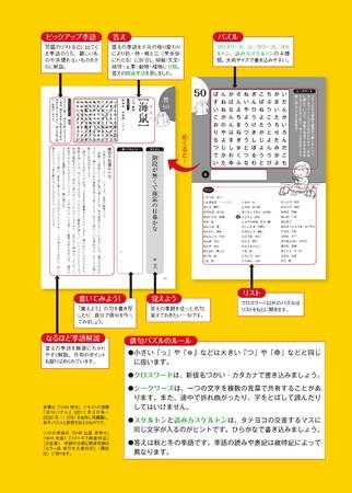 パズルをめくると、解答の季語を使った名句と解説。さらに、問題に使用した難しい季語のワンポイント解説もあり。