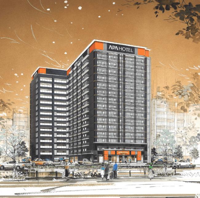 アパホテル〈新大阪駅前〉完成予想外観パース