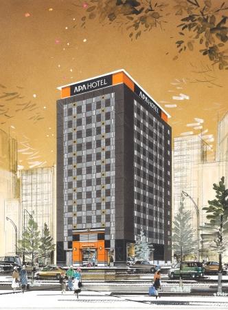 アパホテル〈上野広小路〉(仮称)完成予想外観パース