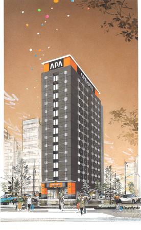 アパホテル〈浅草 新御徒町駅前〉完成予想パース