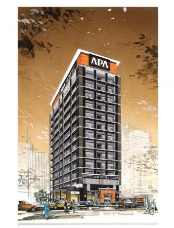 アパホテル〈東梅田 南森町駅前〉完成予想外観パース