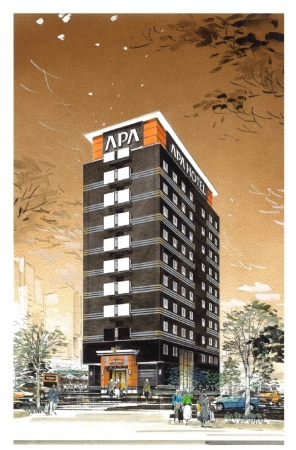 アパホテル〈新大阪駅南〉完成予想外観パース
