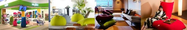 Yogiboソファは現在、旅館やイベント等さまざまなシーンに導入されています。 これまでのソファとは違うすわり心地とデザインが印象に残ります。